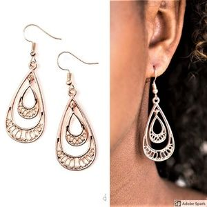 REIGNed Out - Rose Gold Teardrop Hook Earrings